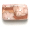 Glass Beads 17x11mm Rectangle Flat Rosaline With Flower